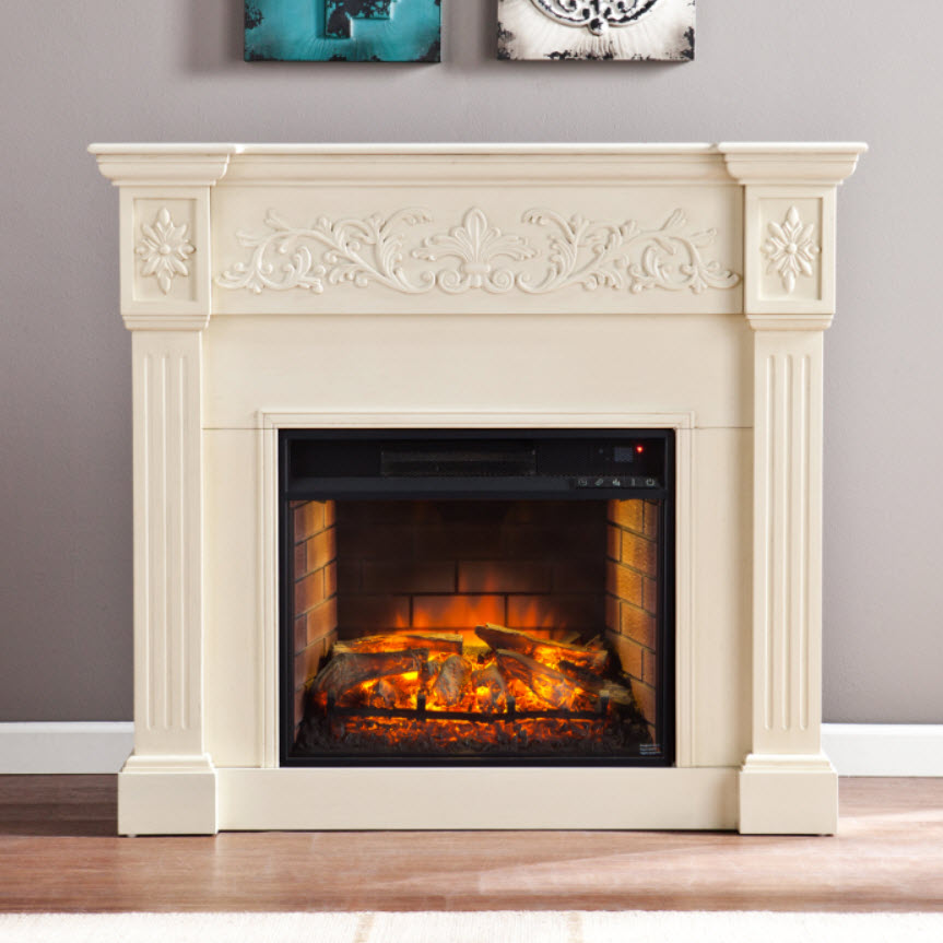 44 5 Calvert Carved Infrared Electric Fireplace Ivory Fi9279