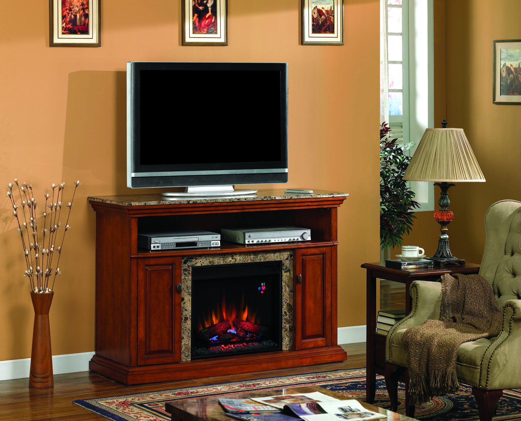 The  Briteton Golden Honey Marble Entertainment Center Electric Fireplace brings together amazing craftsmanship of woodworking and marble in this excellent entertainment center piece.  Featuring a real marble top and surrounding mantel