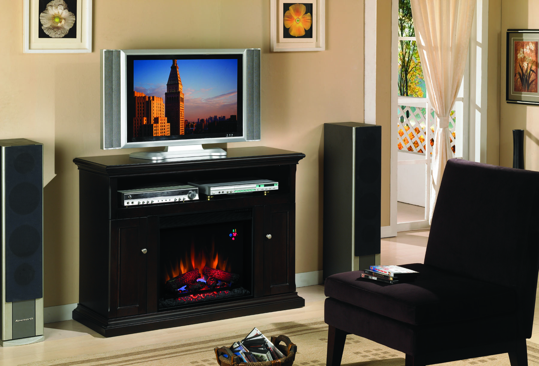 The Cannes Espresso Entertainment Center Electric Fireplace brings together a family room like no other fireplace with its combination of warmth and entertainment.