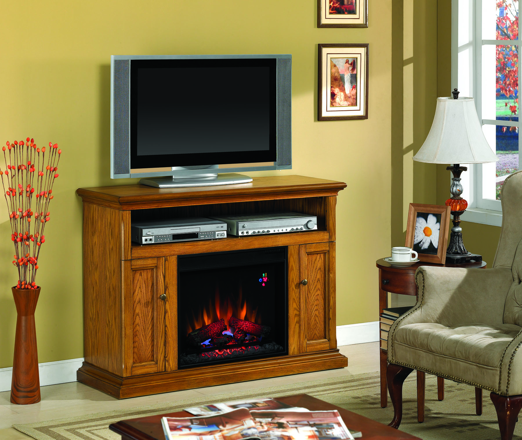 Cannes Antique Oak Entertainment Center Electric Fireplace 23mm378 O103