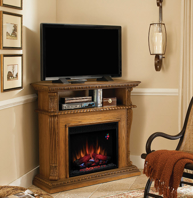 42'' Corinth Premium Oak Entertainment Center Wall and Corner Electric  Fireplace - 42'' Corinth Premium Oak Entertainment Center Wall And Corner
