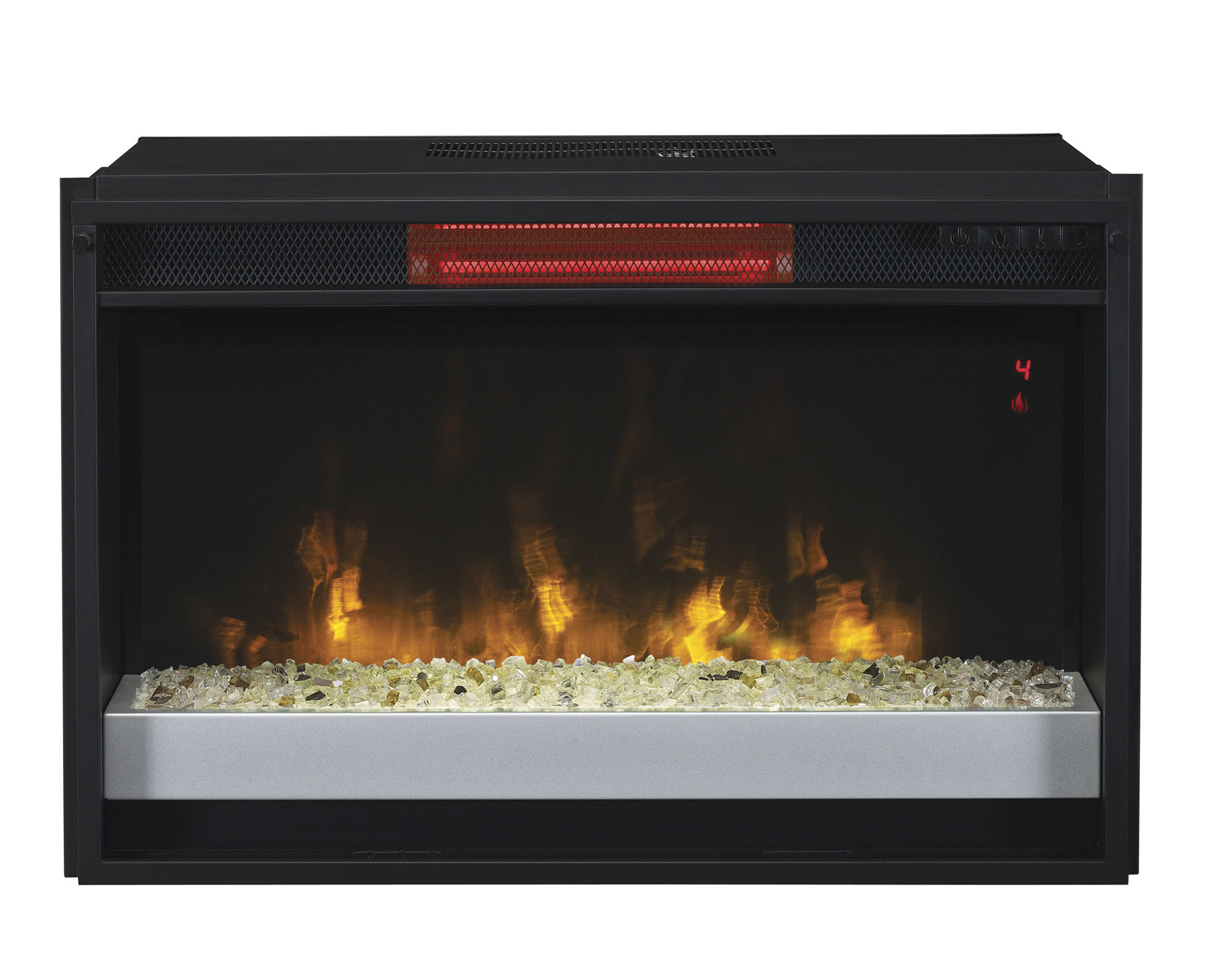 "27"" contemporary Infrared quartz electric fireplace insert is able to heat a room up to 1000 square feet and consistently keep a soft"