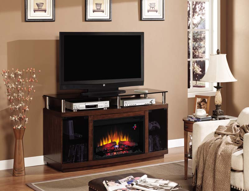Fireplace Design entertainment center with fireplace : 54'' Drew Autumn Birch Entertainment Center Electric Fireplace ...