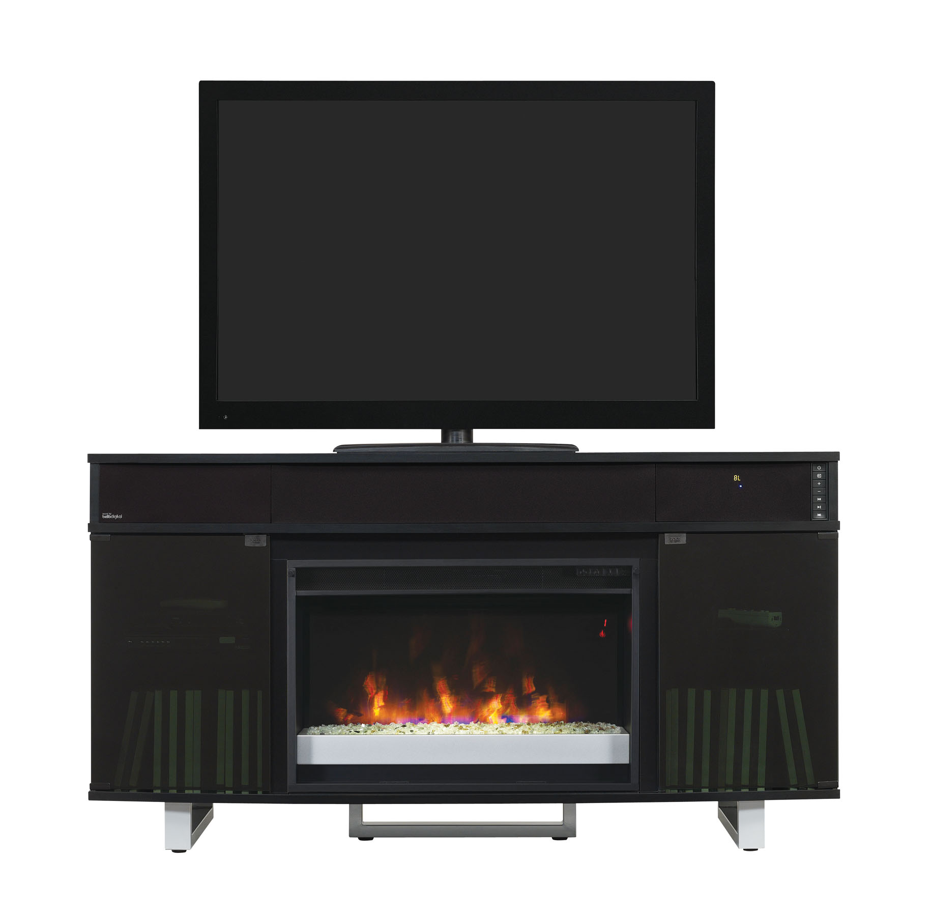 56 New Enterprise Infrared Media Electric Fireplace W Bluetooth Speakers