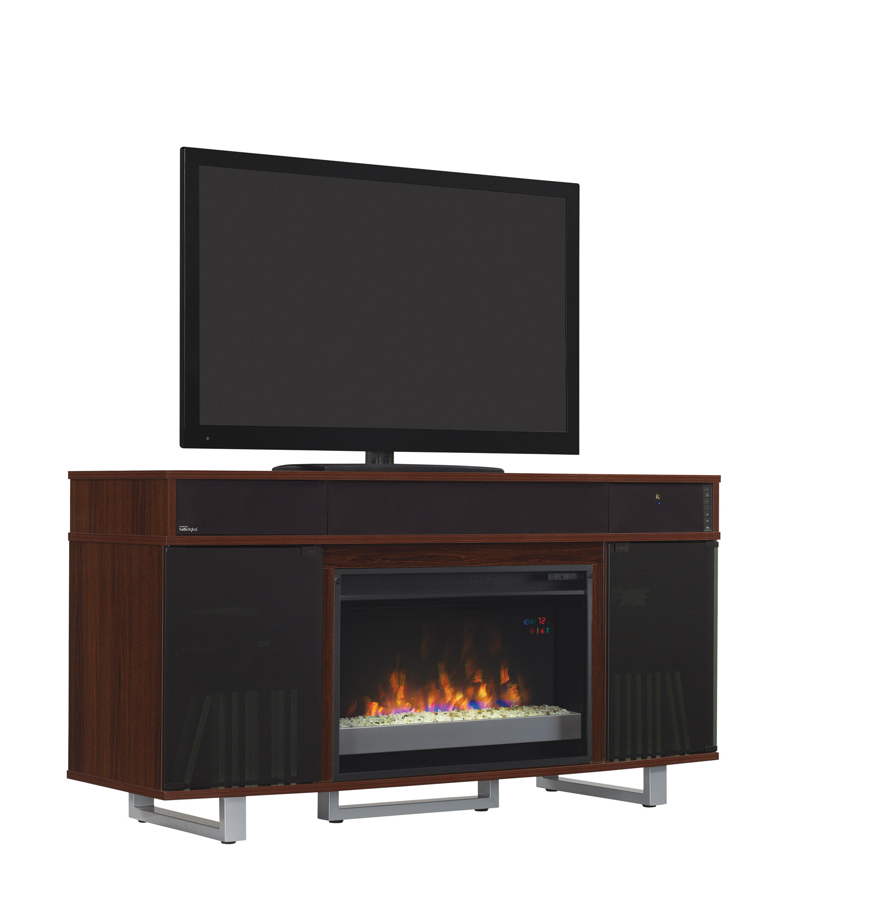 56 new enterprise high gloss cherry infrared media electric fireplace w bluetooth speakers. Black Bedroom Furniture Sets. Home Design Ideas