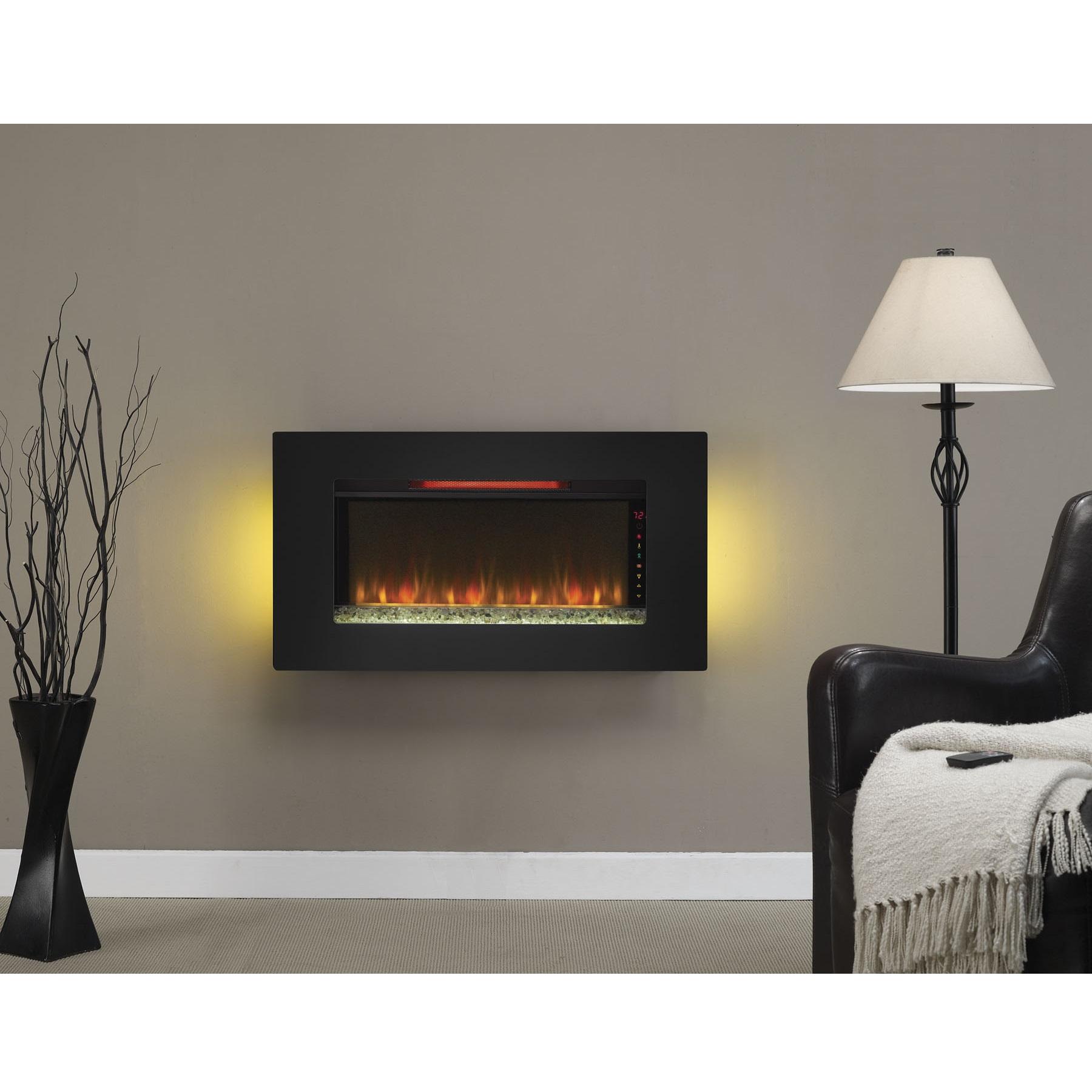 36 Elysium Black Infrared Quartz Wall Electric Fireplace 36ii100grg