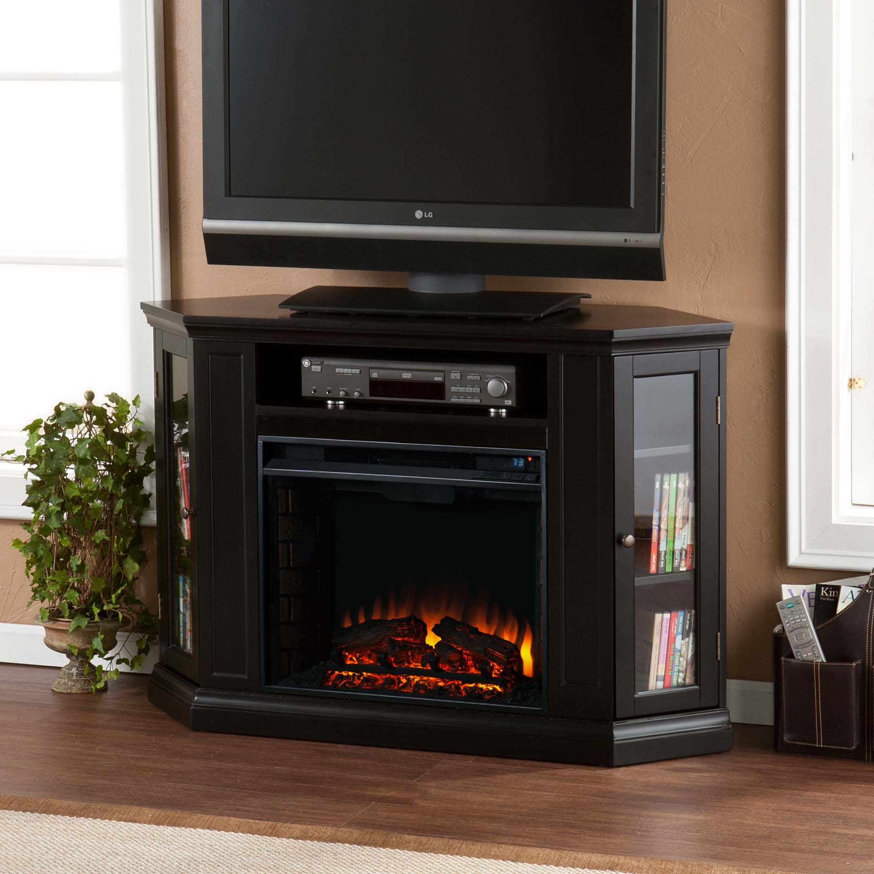 antebellum electric black fireplace media