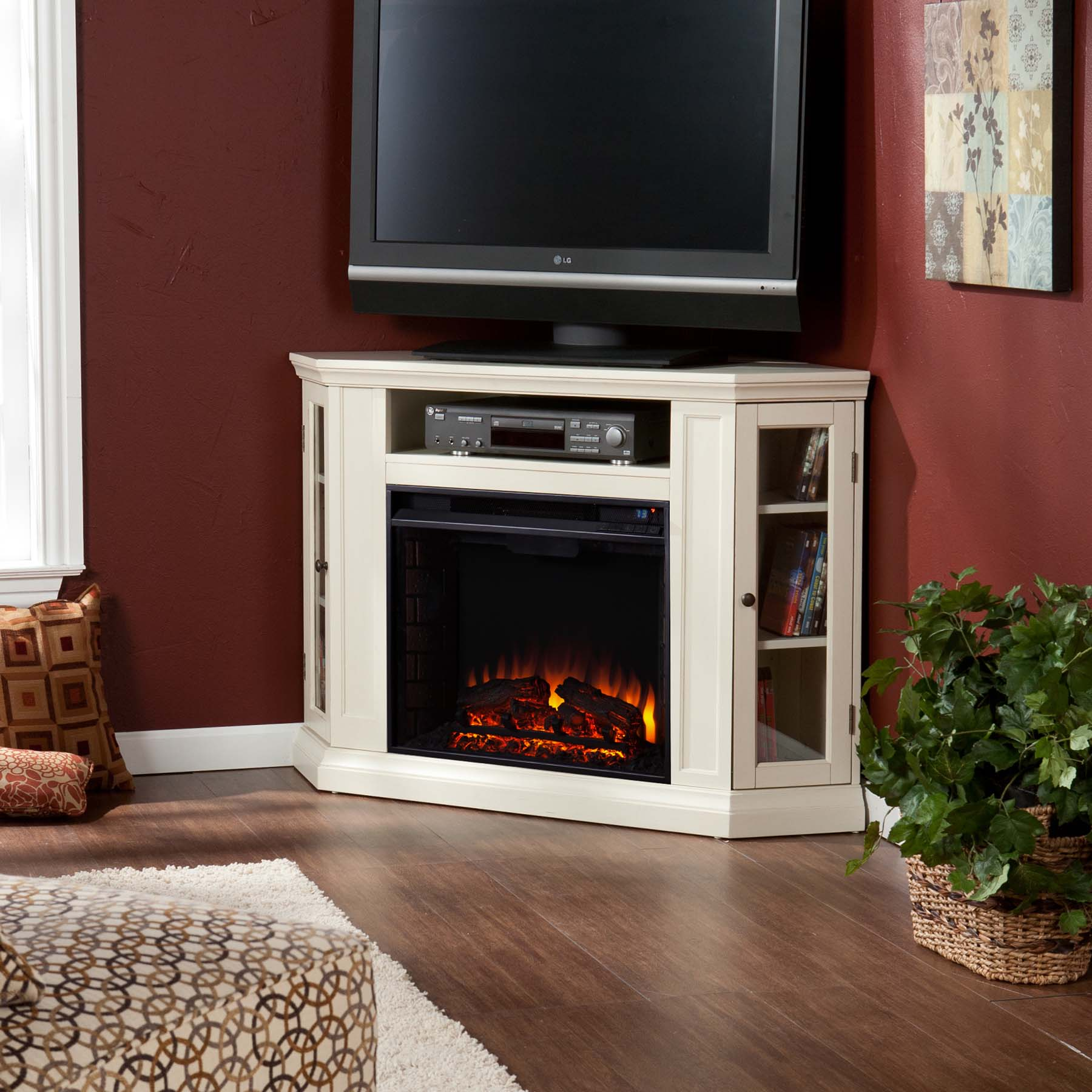 "The 48"" Claremont Convertible Media Electric Fireplace - Ivory - FE9314 accommodates any entertainment enthusiast."