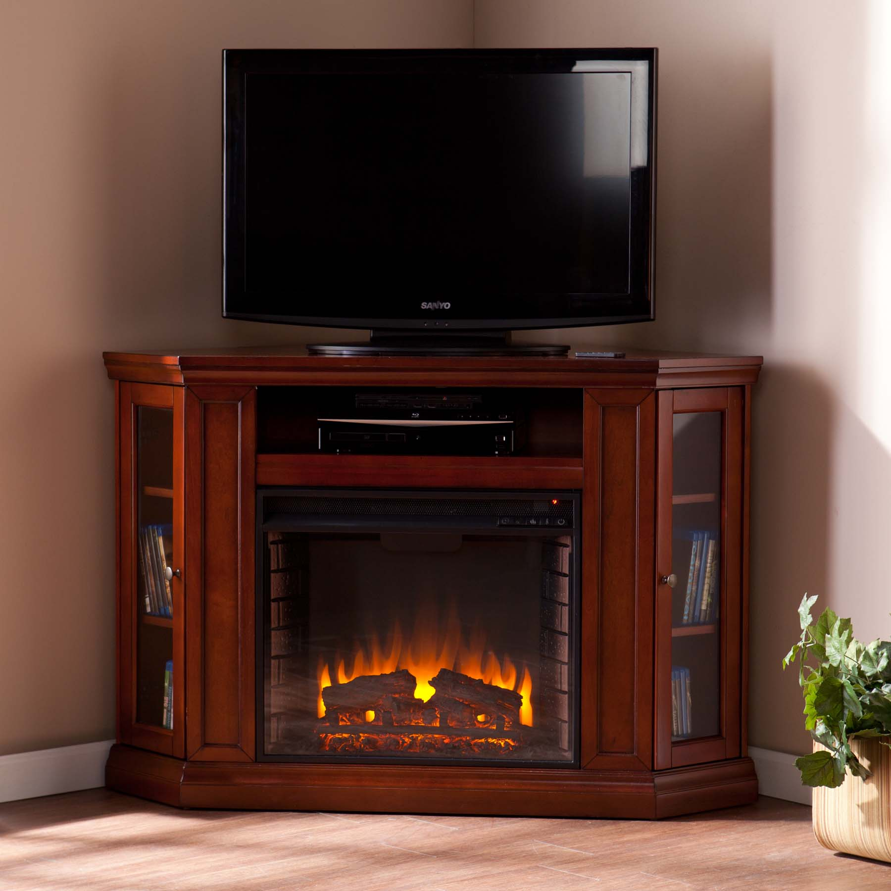 48 quot claremont convertible media electric fireplace brown mahogany