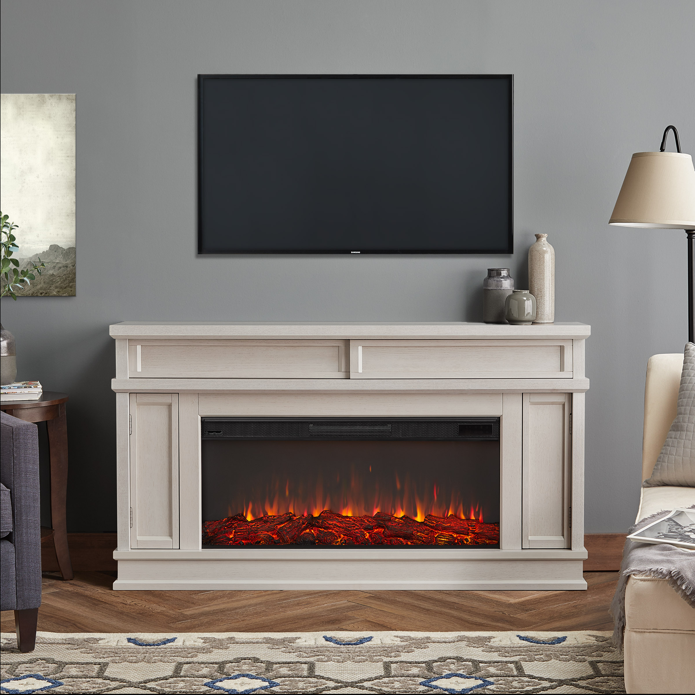Awe Inspiring 60 Torrey Bone White Electric Fireplace Beutiful Home Inspiration Truamahrainfo