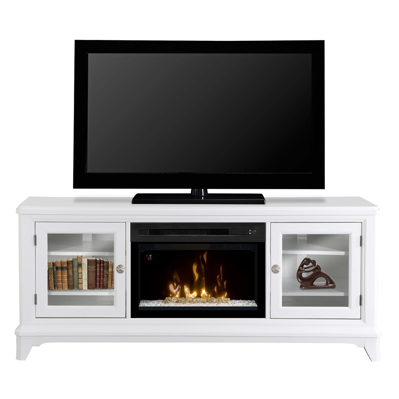 white glass ember bed media console fireplace gds25gd 1413ww