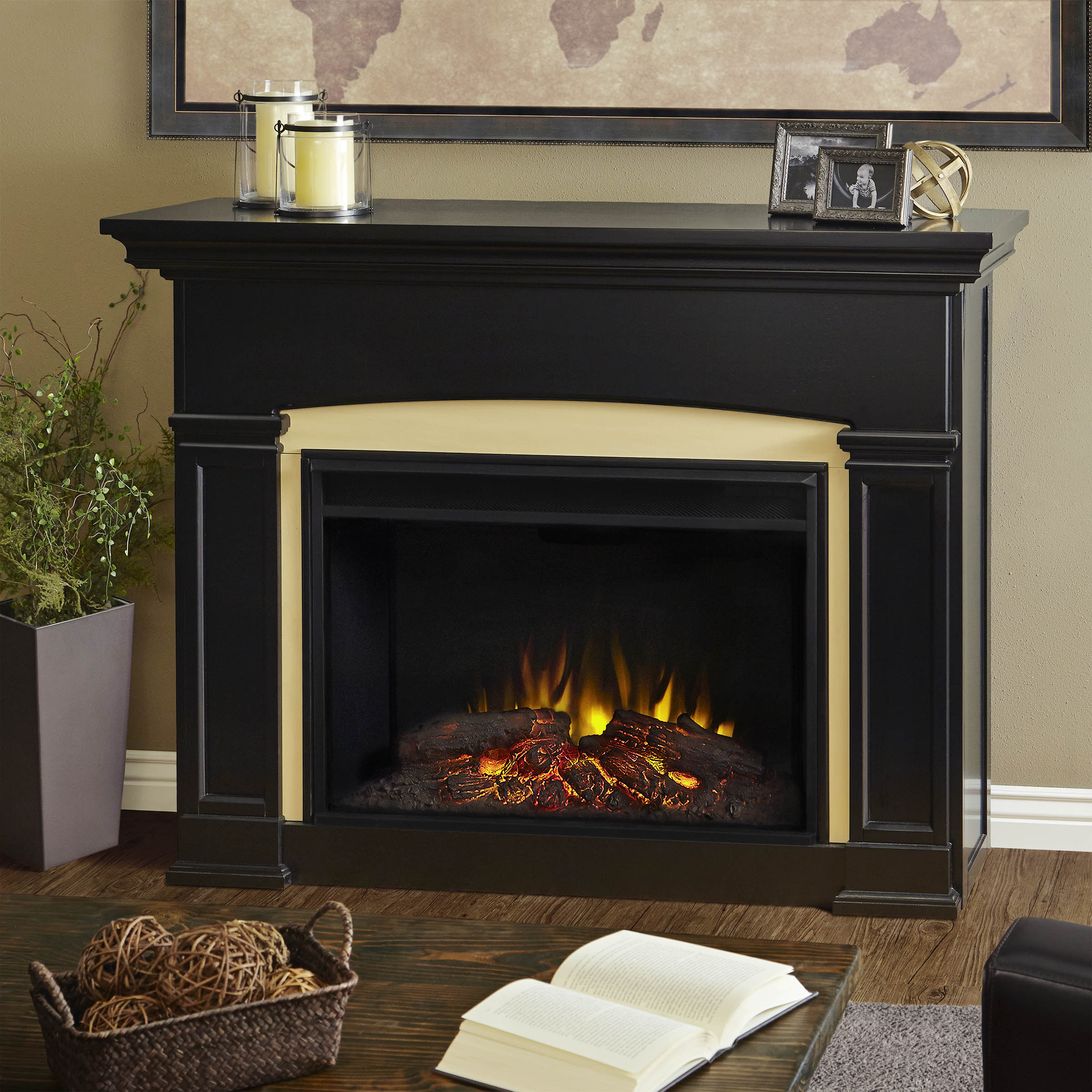 mantel grey btu infrared in quartz w dark electric black wood wall flat pd media living fireplace scott shop