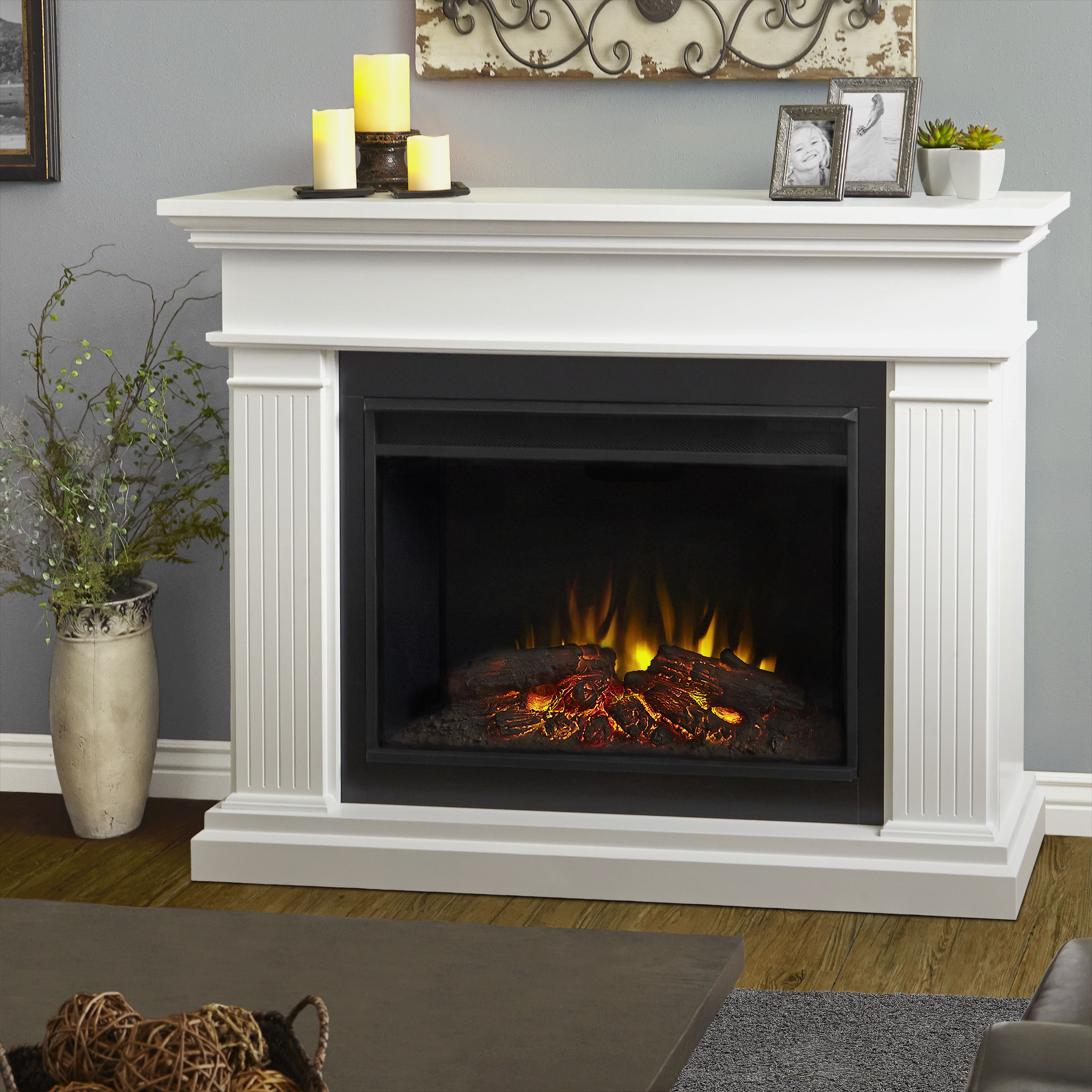 "The Kennedy represents a new generation of Real Flame electric fireplaces. The 40"" (diagonal) Grand Series firebox is 30% larger than our standard firebox"