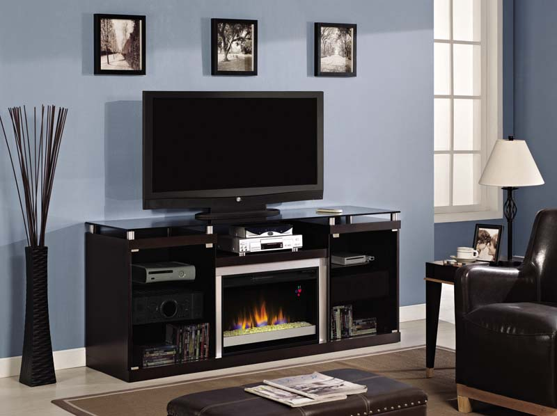 The Albrite Espresso Entertainment Center Electric Fireplace is a large multi-function media cabinet with ample storage for all your media needs.  Open center shelf is perfect for cable receivers