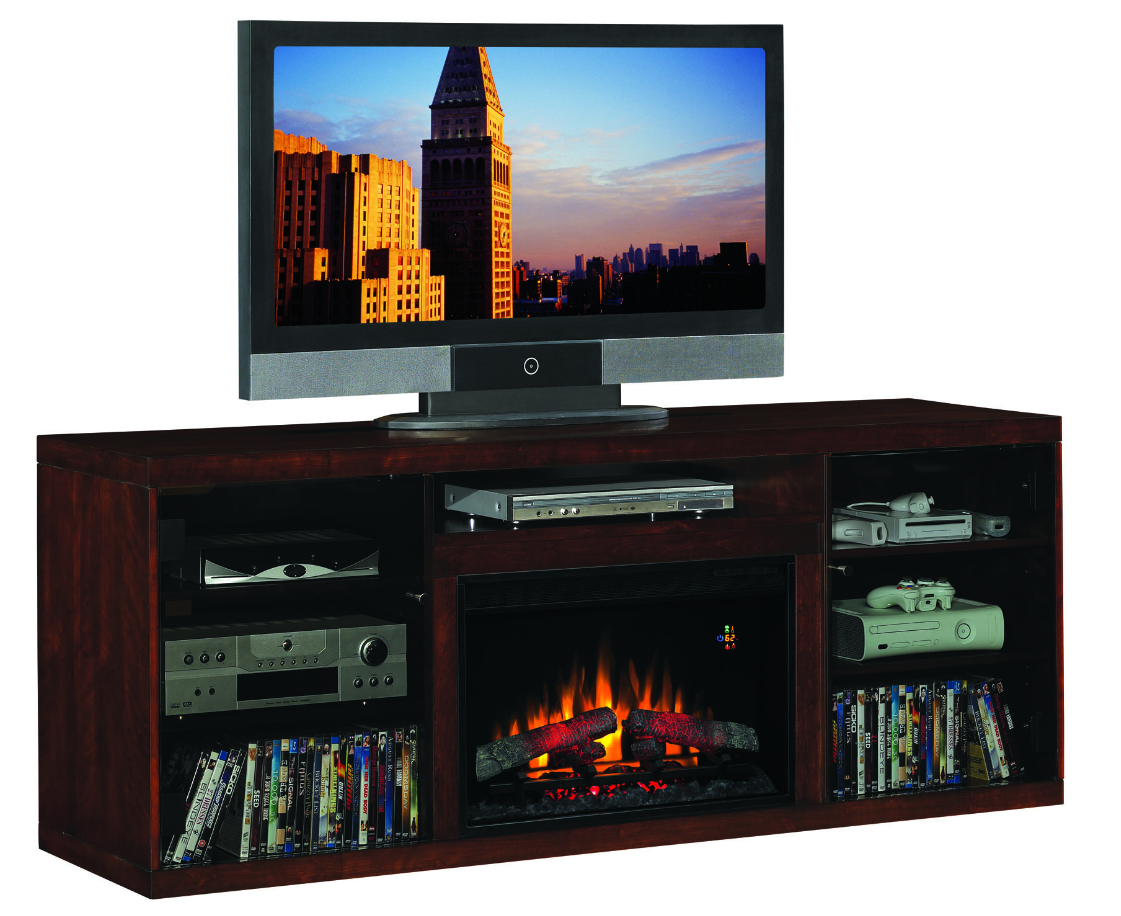 70'' Alexander Midnight Cherry Entertainment Center Electric Fireplace