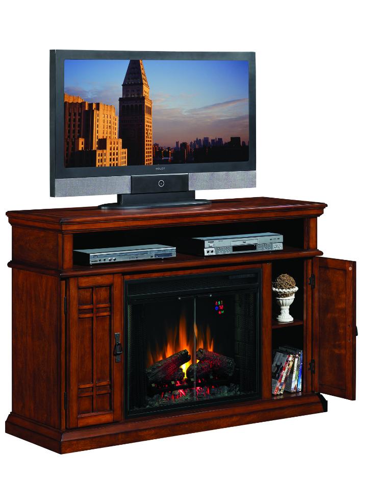 55 39 39 Carmel Premium Pecan Cherry Entertainment Center Electric Fireplace