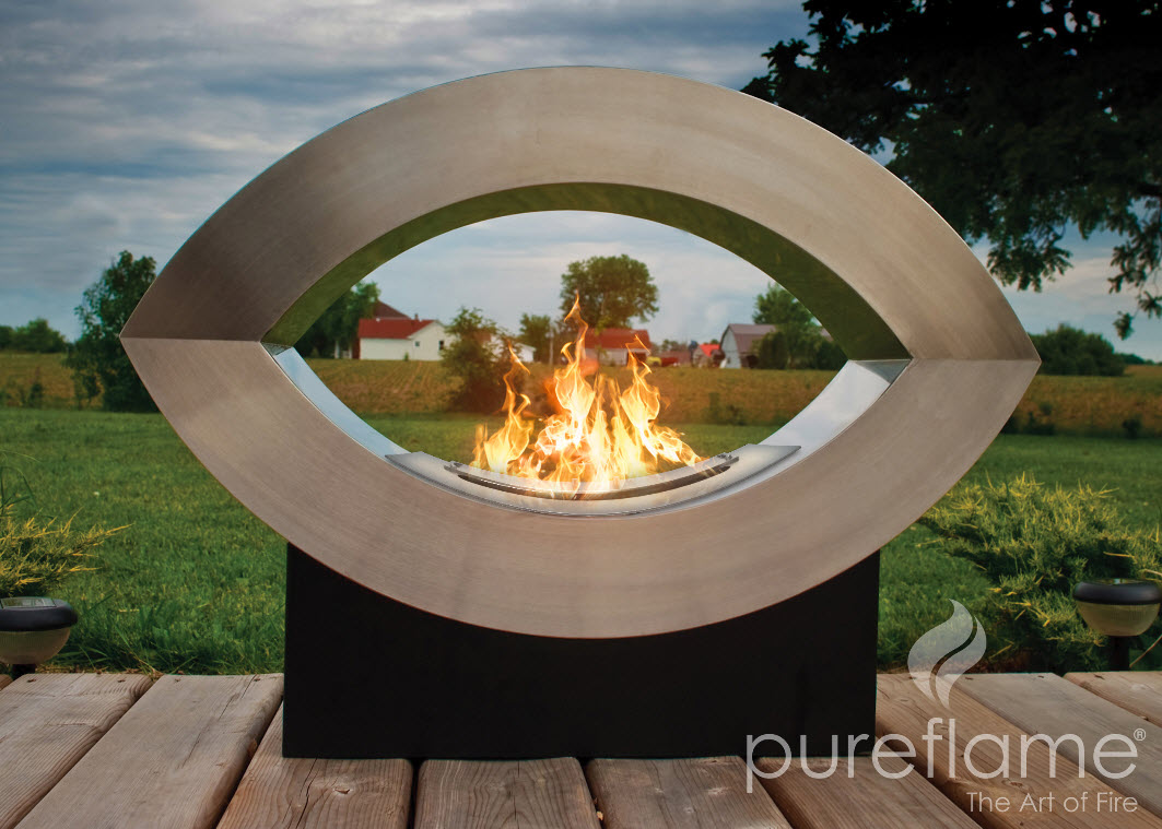 "30.7"" Ellipse of Fire Ethanol Biofuel Outdoor Floor Fireplace"