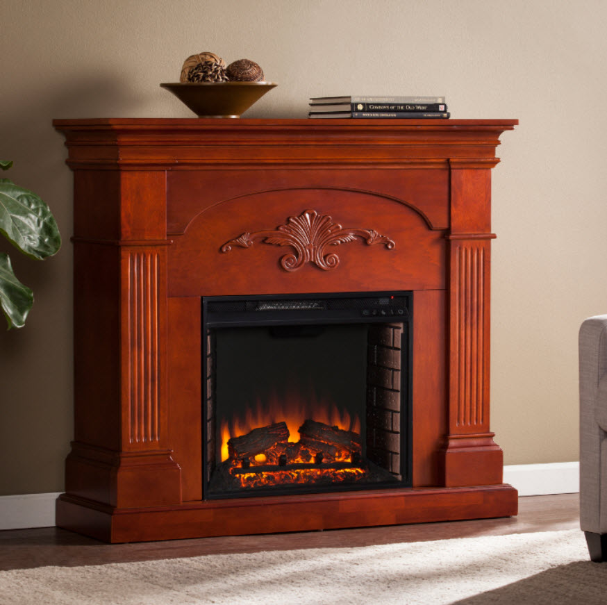 "44.75"" Sicilian Harvest Mahogany Electric Fireplace - FE9277"