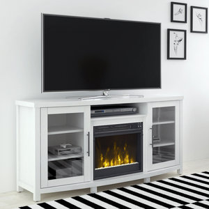 54 Rossville White Tv Entertainment Media Stand W Electric Fireplace