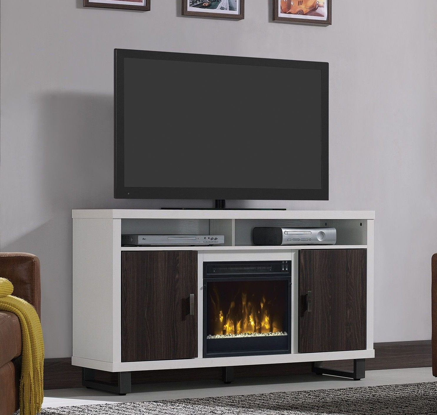 54 Maya White Tv Entertainment Media Stand W Electric Fireplace