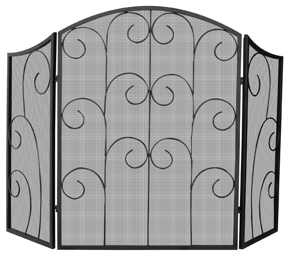 52 3 Panel Black Wrought Iron Fireplace Screen With Decorative Scrolls
