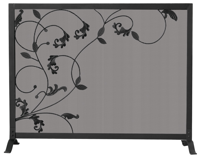 39 Single Panel Black Wrought Iron Fireplace Screen With Flowing