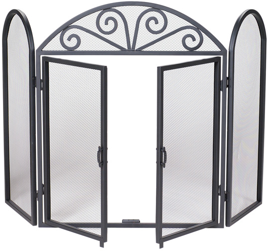 52 3 Fold Black Wrought Iron Fireplace Screen With Opening Doors