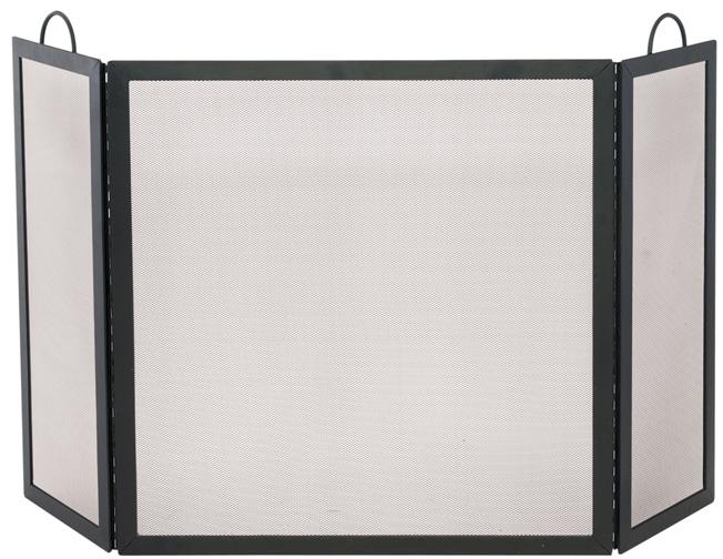 52 39 39 54 39 39 3 fold black wrought iron fireplace screen