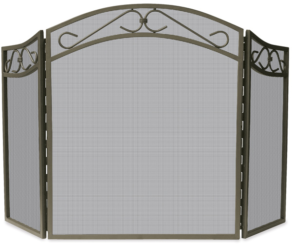 515 3 Fold Bronze Finish Wrought Iron Fireplace Screen With