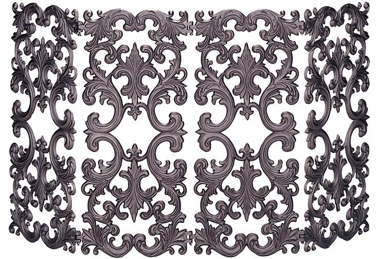 - 54'' 4 Fold Bronze Finish Cast Aluminum Fireplace Screen