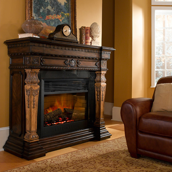 "This handsome two tone electric fireplace is carved from pine. The 30"" firebox is surrounded by marble and features an on / off remote control with a thermostat and timer."