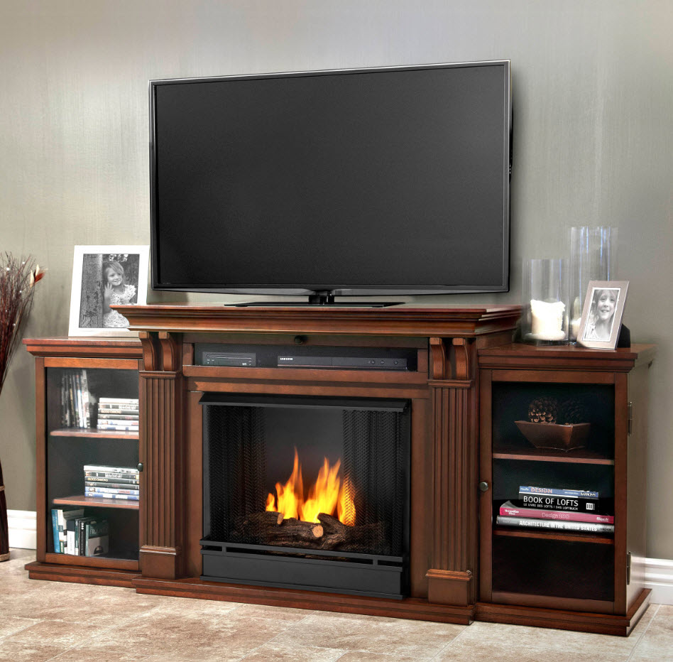 67 Ashley Dark Espresso Entertainment Center Gel Fireplace