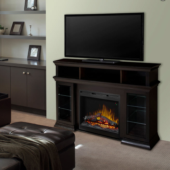 65 bennett espresso tv stand electric fireplace. Black Bedroom Furniture Sets. Home Design Ideas