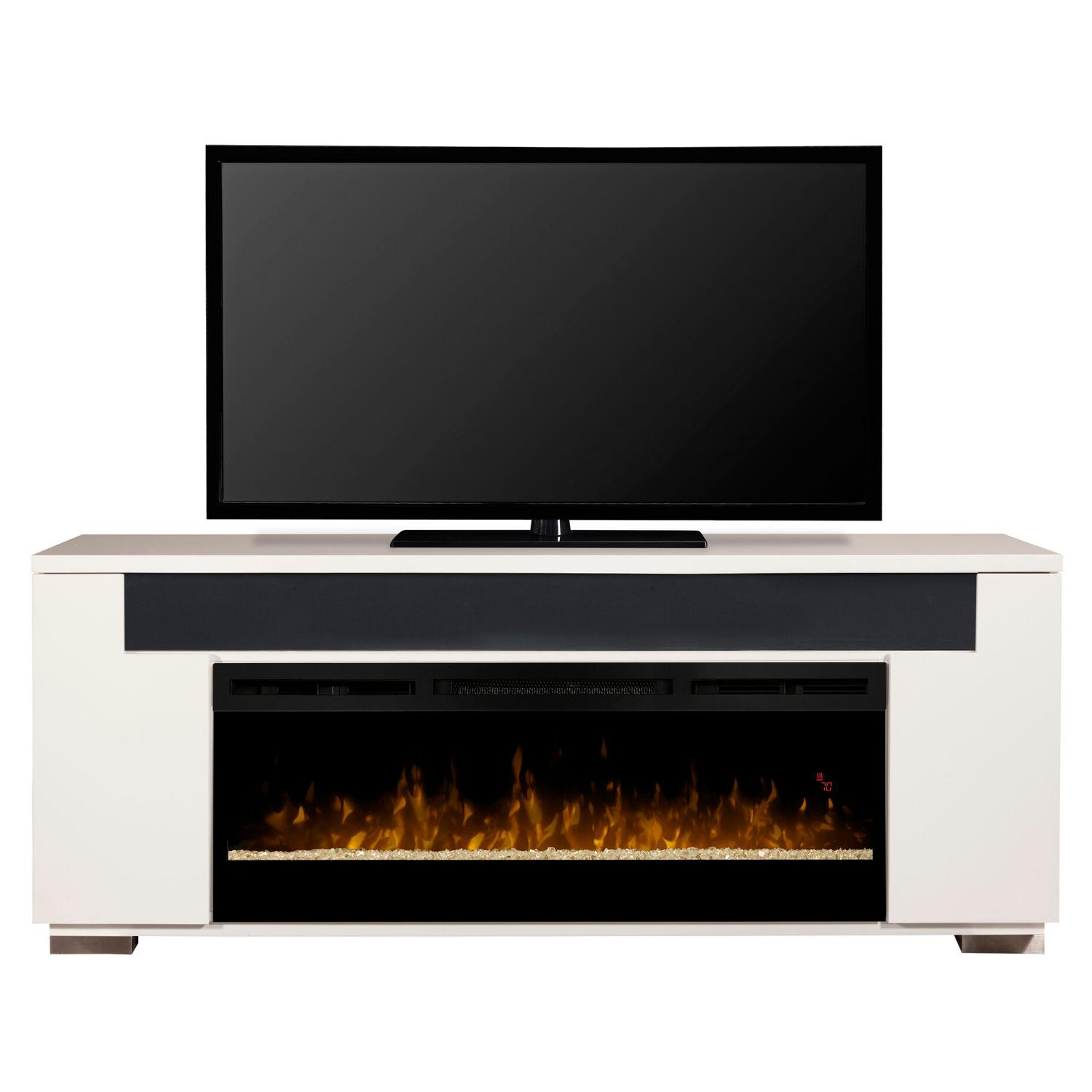 76 Dimplex Haley Glass Ember Bed Media Console Electric Fireplace In Rift Grey Or White