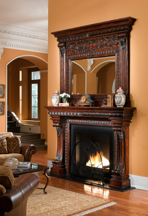 84 casa bella dark fireplace surround for Casa mantel