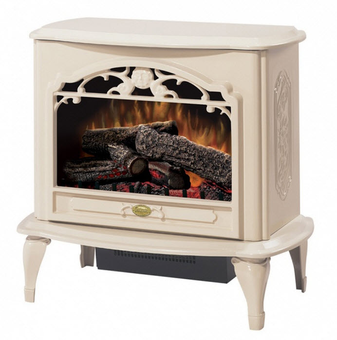"The 29.6"" Dimplex Celeste Cream Stove Electric Fireplace features an elegant gloss cream finish stove design that is traditional in style and is from a less complicated era for a soothing addition to any room or office"