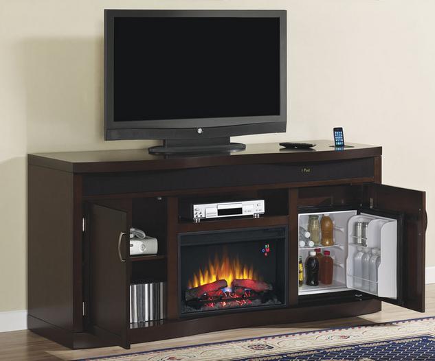 73 Endzone Espresso Electric Fireplace Entertainment