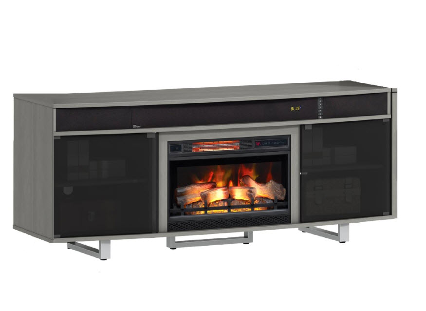 72 Quot Enterprise Flat Gray Tv Stand Infrared Electric Fireplace