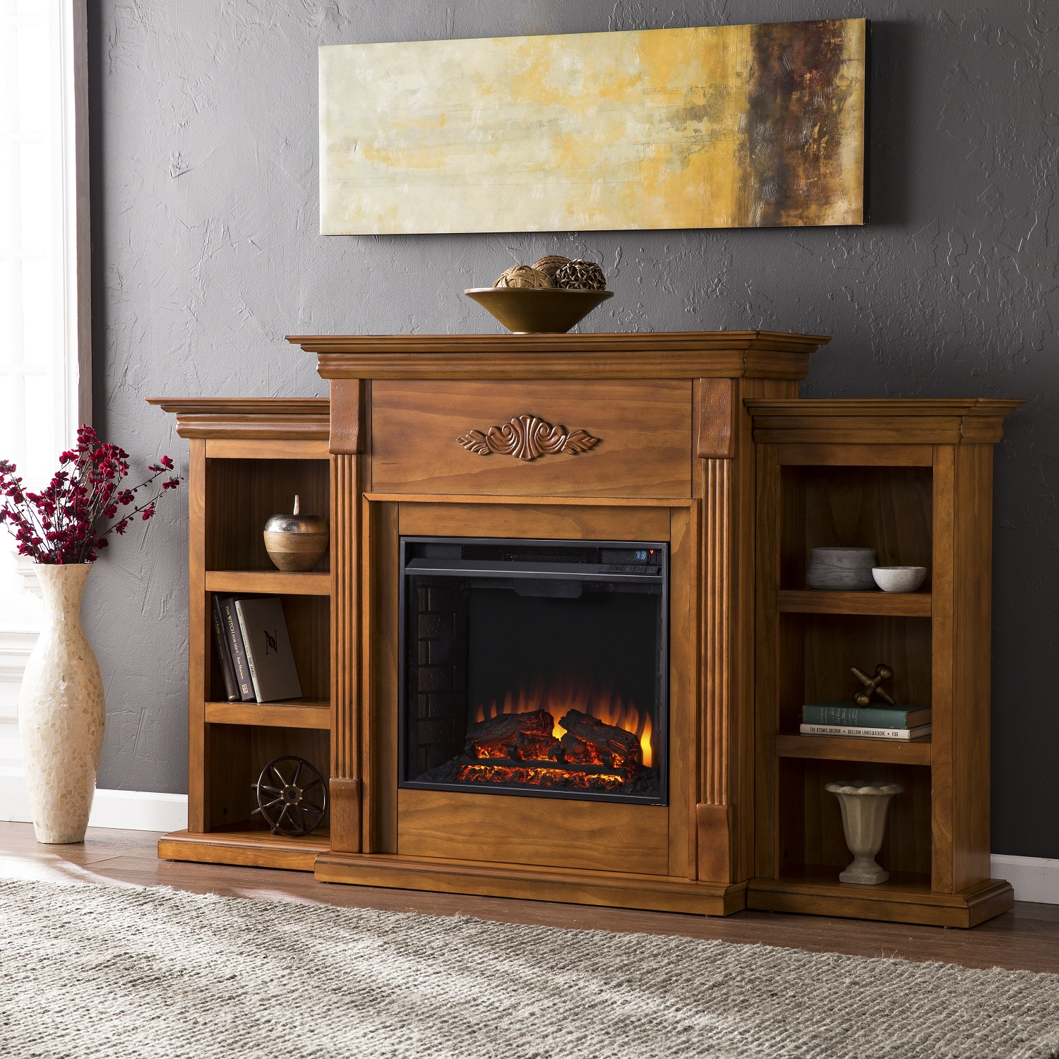tennyson glazed pine electric fireplace w bookcases fe8543. Black Bedroom Furniture Sets. Home Design Ideas