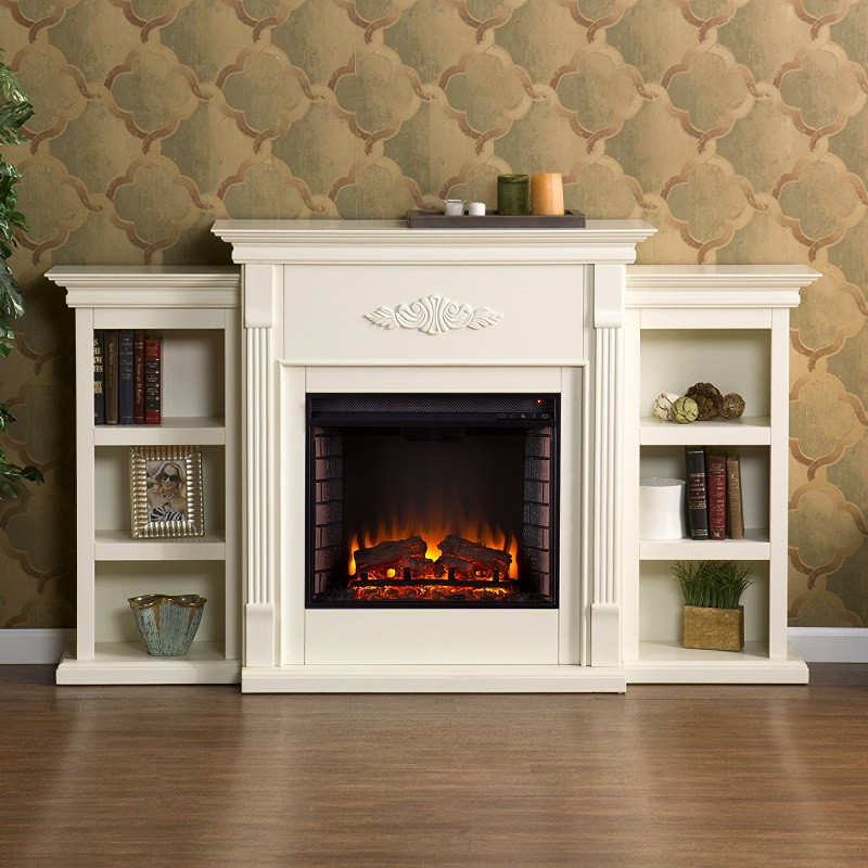 tennyson ivory electric fireplace w bookcases fe8544. Black Bedroom Furniture Sets. Home Design Ideas