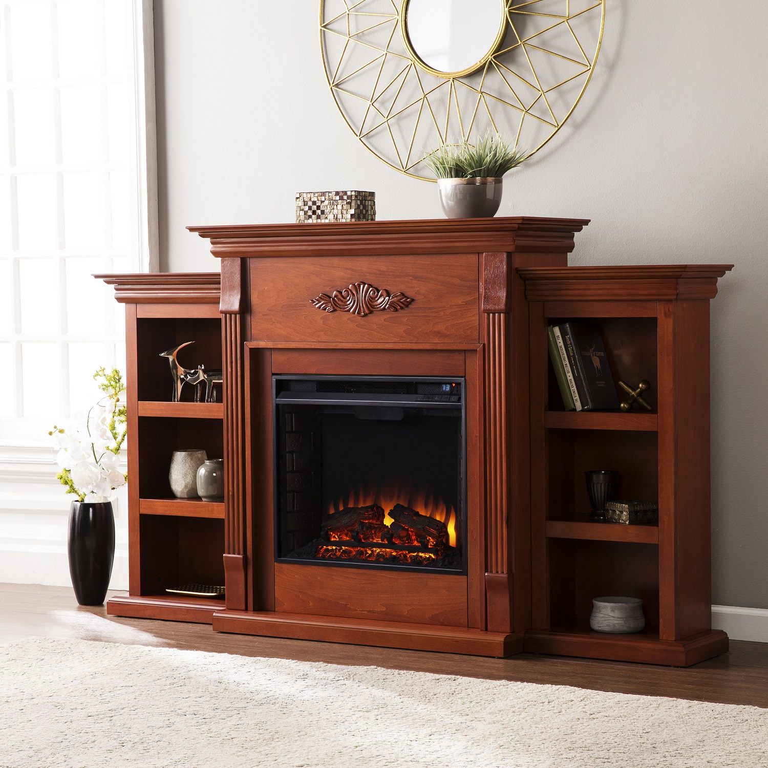 tennyson classic mahogany electric fireplace w bookcases fe8547. Black Bedroom Furniture Sets. Home Design Ideas