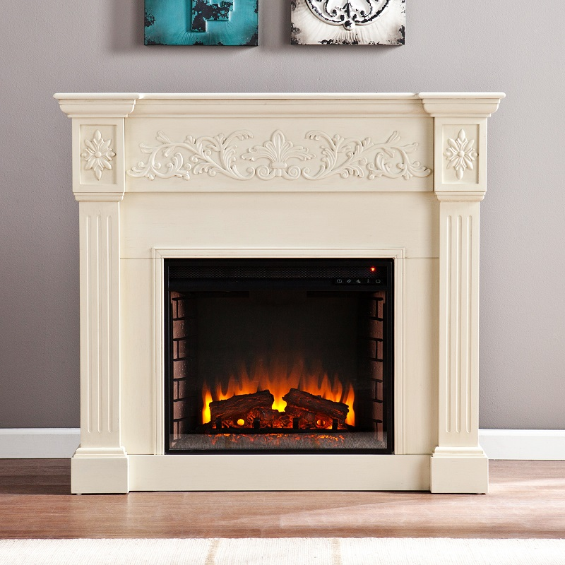 44 5 Calvert Carved Ivory Electric Fireplace