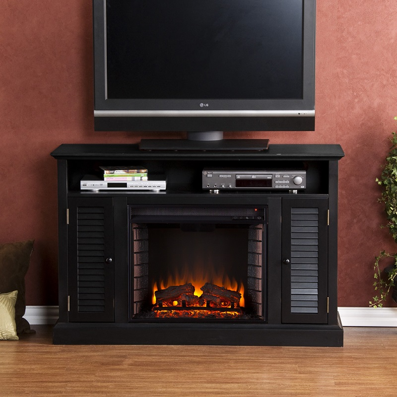 48 Quot Antebellum Black Media Electric Fireplace Fe9300