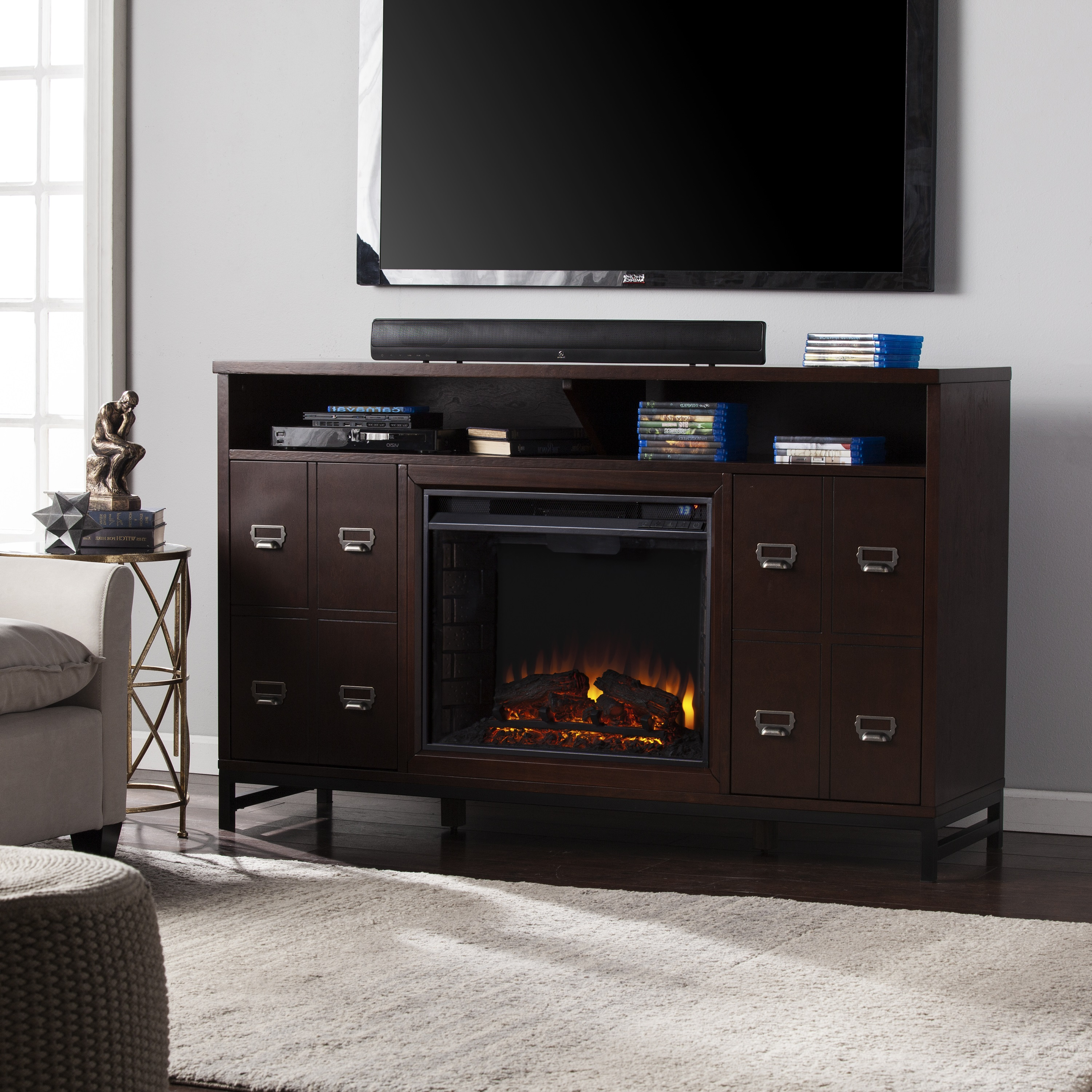 58 Rutherford Electric Fireplace Media Stand Espresso Fe9330 Fi9330