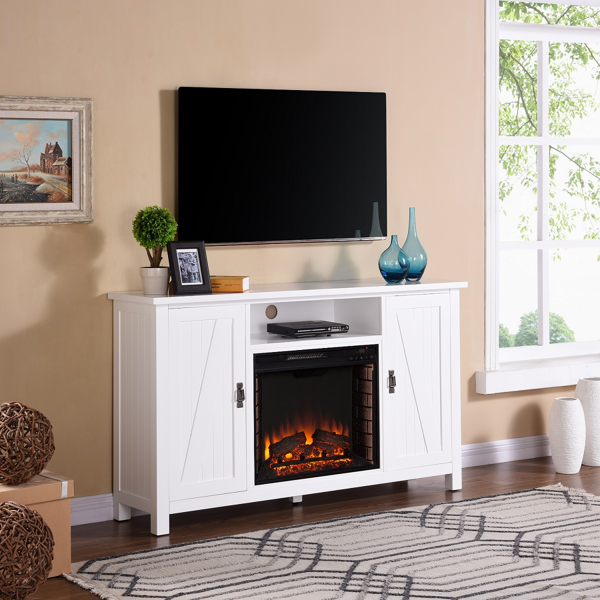 "58"" Adderly Farmhouse Style Electric Fireplace TV Stand ..."
