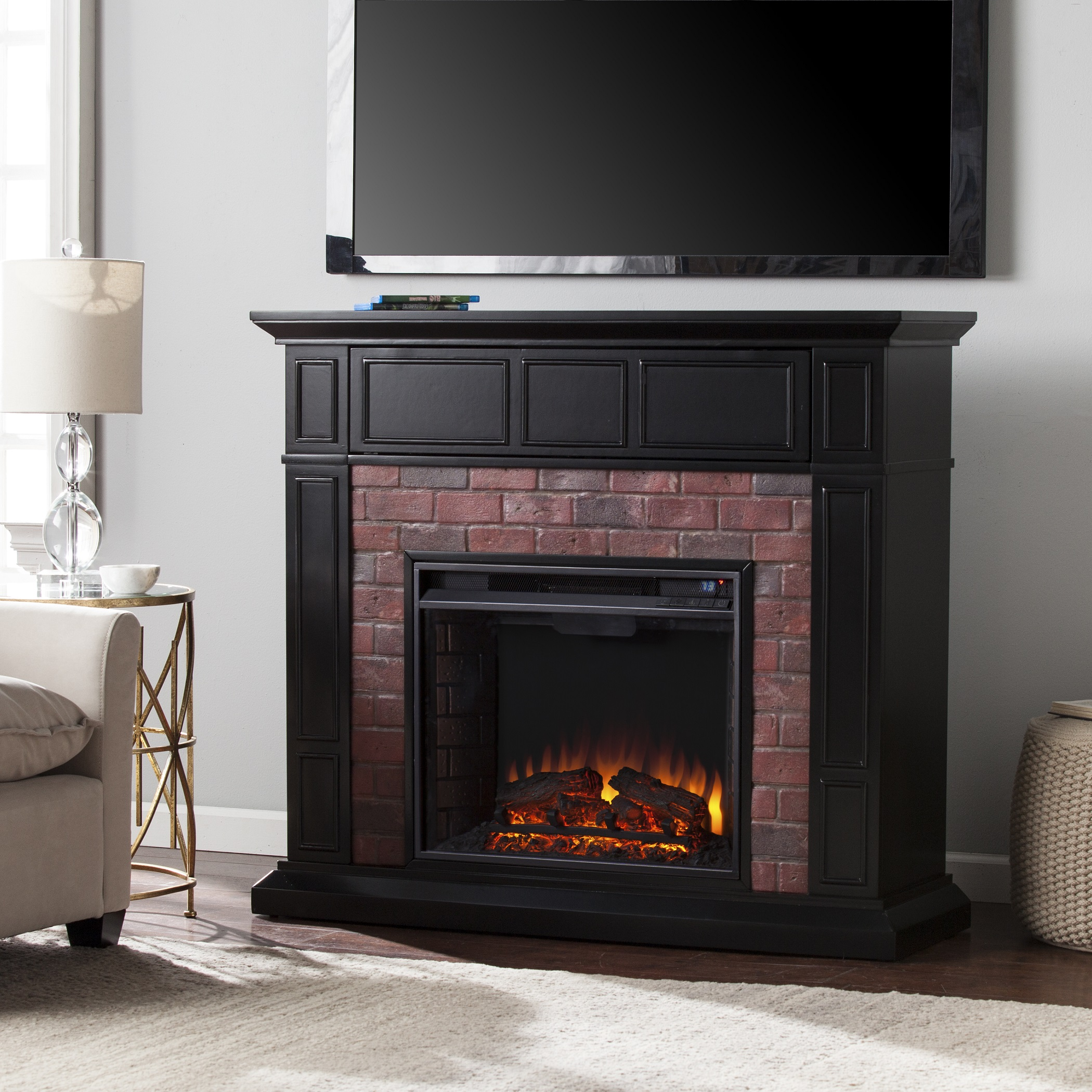 Kyledale faux brick electric media fireplace satin black w faux red brick fe9380 fi9380 - Black and white fireplace ...