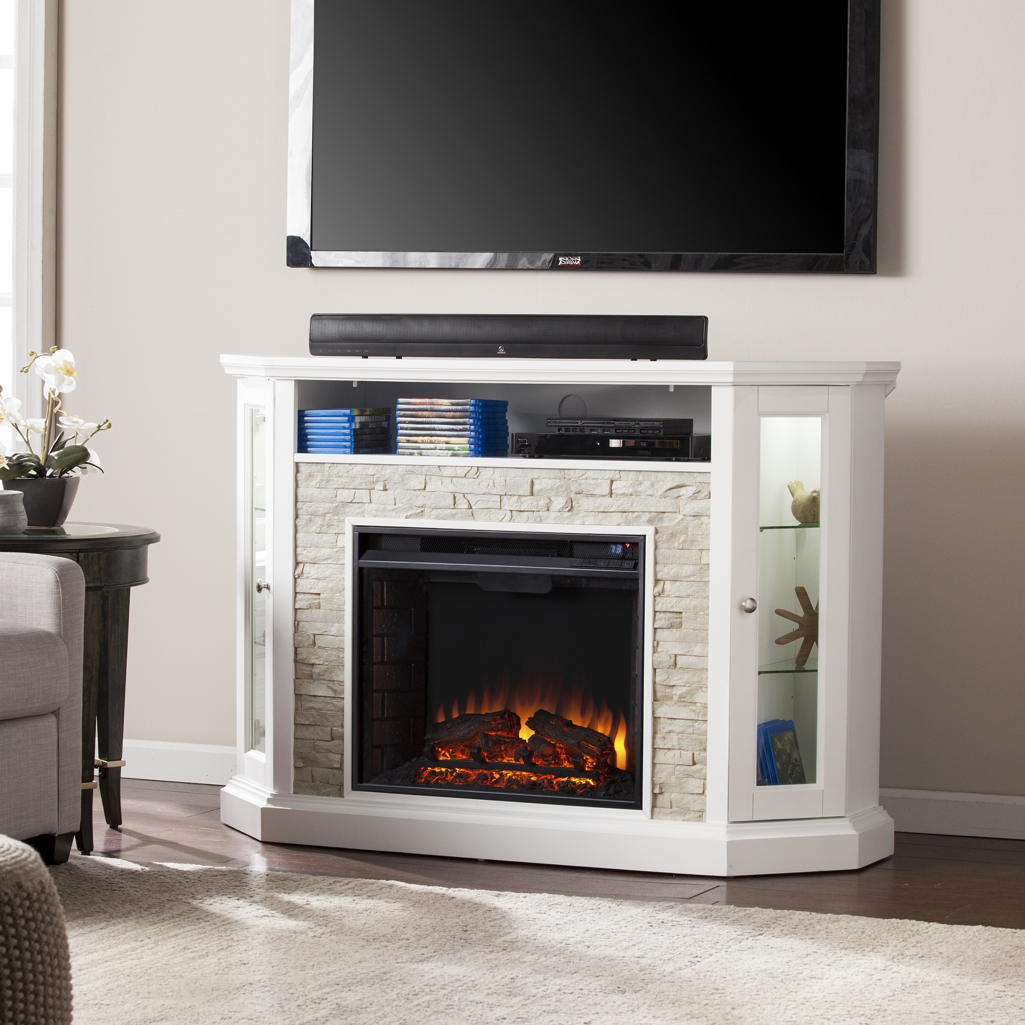 Redden Corner Convertible Electric Media Fireplace White Faux Stone Fe9393 Fi9393