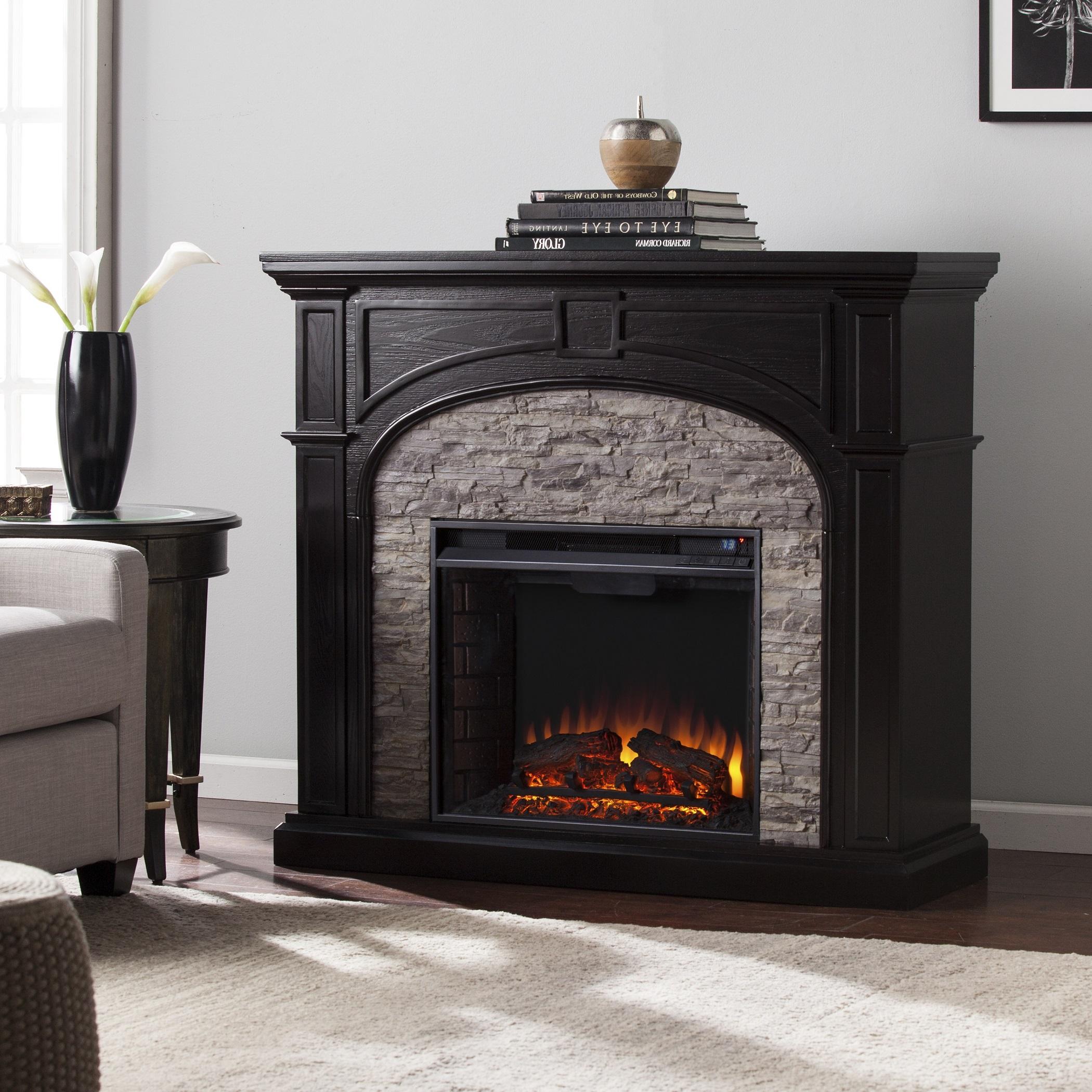 Tanaya Electric Fireplace Ebony W Gray Stacked Stone Fe9620 Fi9620