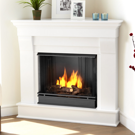 Chateau White Corner Gel Fireplace