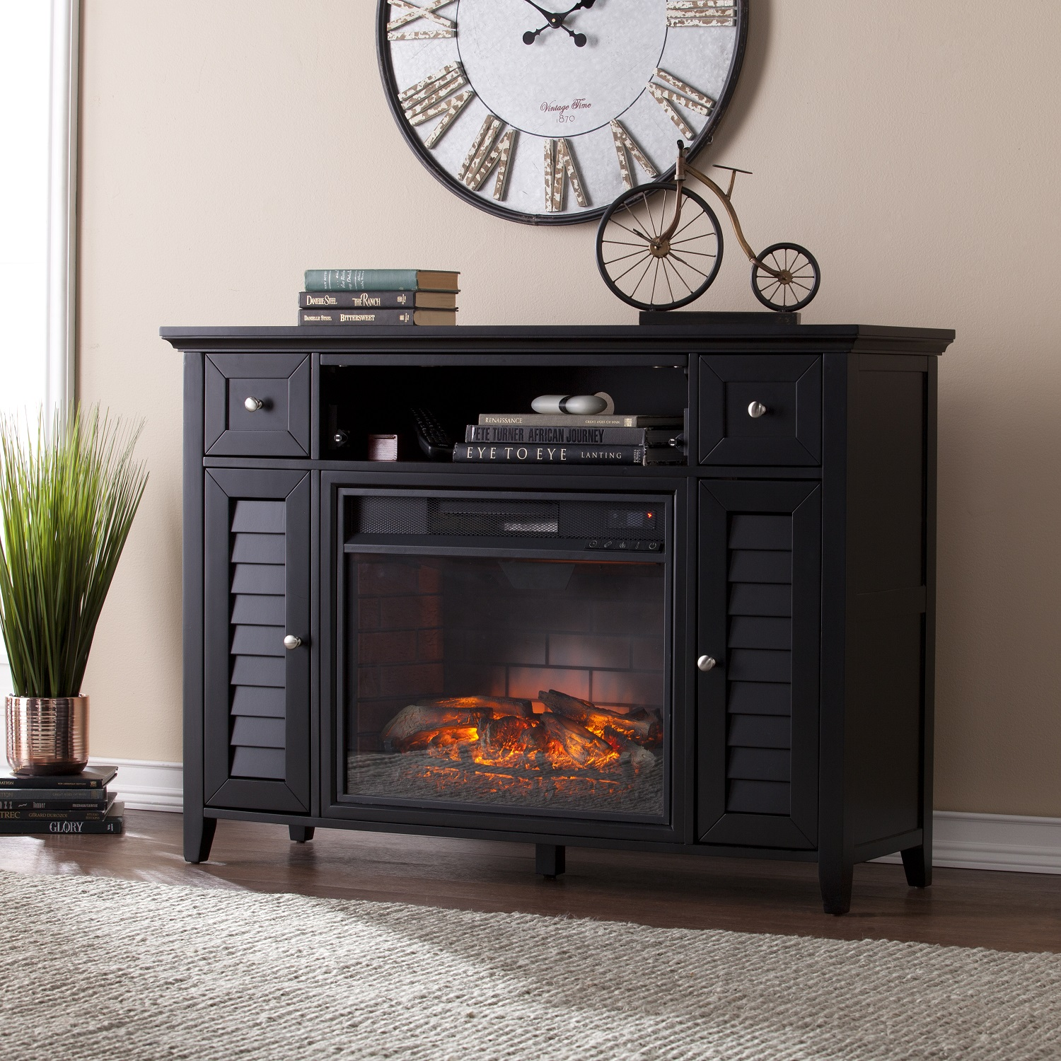 48 Quot Fairbury 3 In 1 Infrared Media Fireplace Console Black